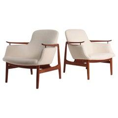 Pair of NV53 Lounge Chairs in Teak by Finn Juhl, Danish Midcentury 1950s