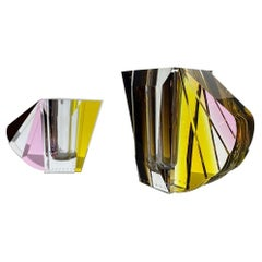 Pair of NYC Contemprary Vases, Hand-Sculpted Contemporary Crystal