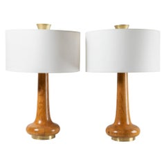 Pair of Oak and Brass Table Lamps, France, 1970's