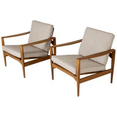 Pair of Oak and Fabric Lounge Chairs by Niels Koefoed for Niels Eilersen, 1960s
