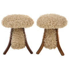 Pair of Oak and Faux Fur Stools