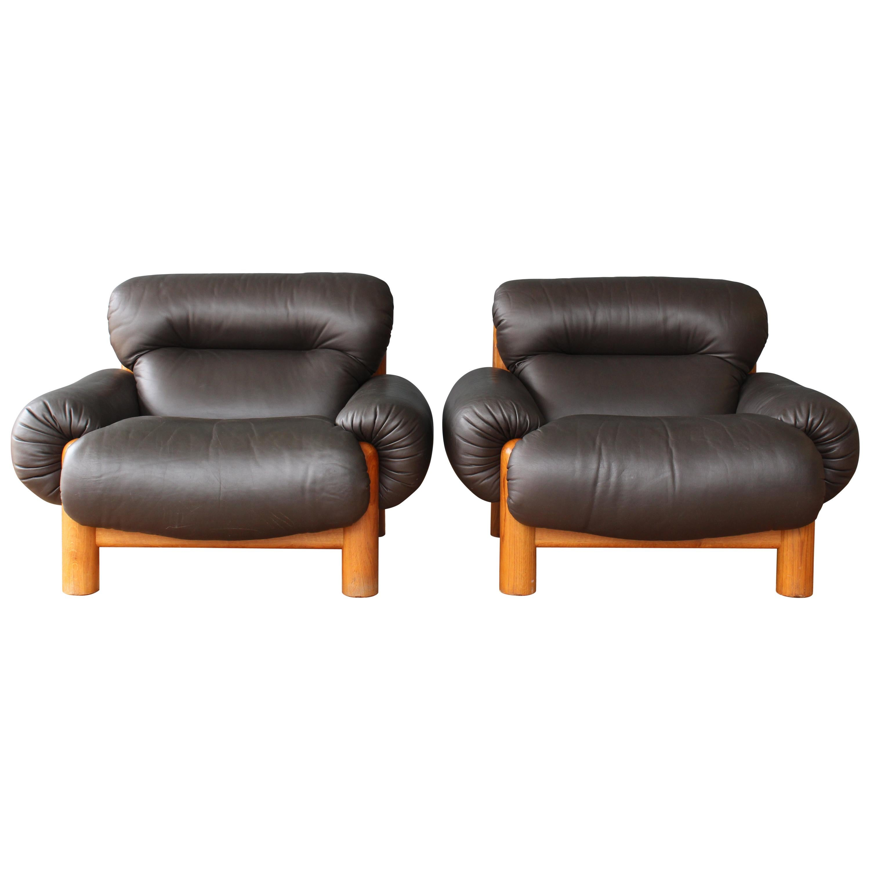 Pair Of Oak And Leather Chairs, 1970s, Italy For Sale