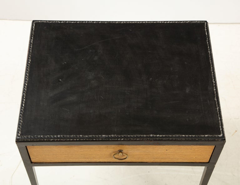 Pair of Oak and Leather Side Tables in the Manner of Jean Michel Frank 5