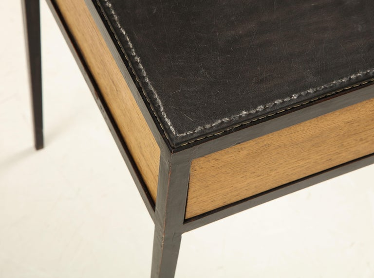 Pair of Oak and Leather Side Tables in the Manner of Jean Michel Frank 7