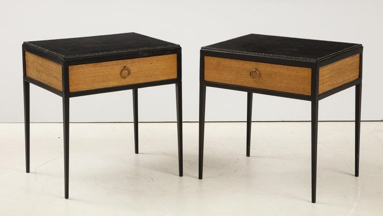 Argentine Pair of Oak and Leather Side Tables in the Manner of Jean Michel Frank