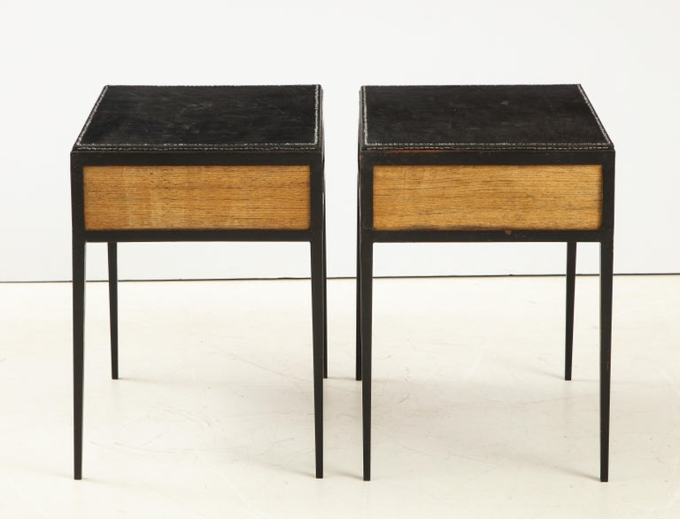 Mid-20th Century Pair of Oak and Leather Side Tables in the Manner of Jean Michel Frank