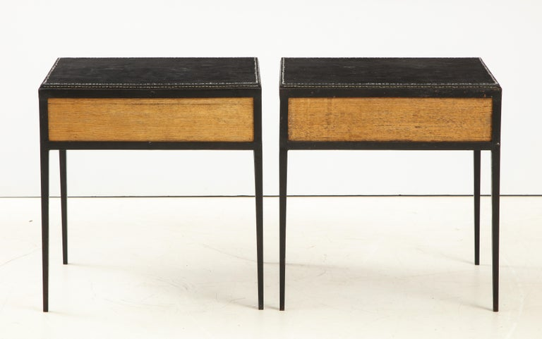 Pair of Oak and Leather Side Tables in the Manner of Jean Michel Frank 1