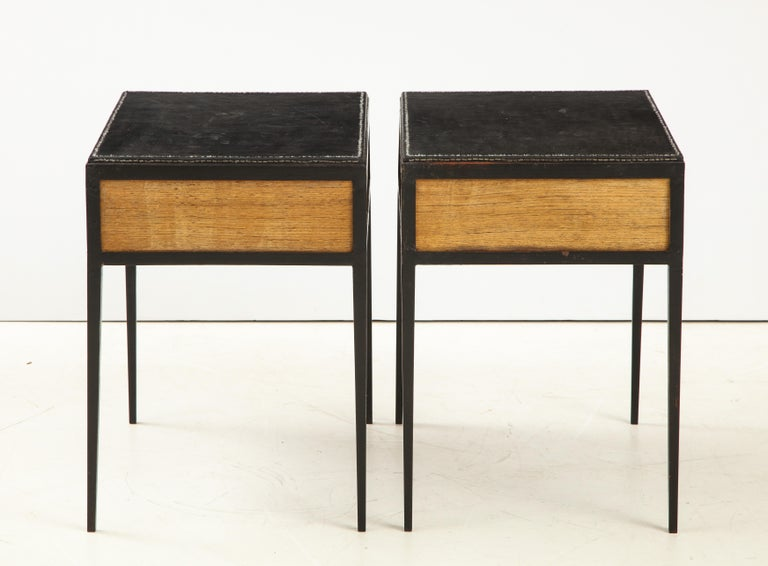 Pair of Oak and Leather Side Tables in the Manner of Jean Michel Frank 2