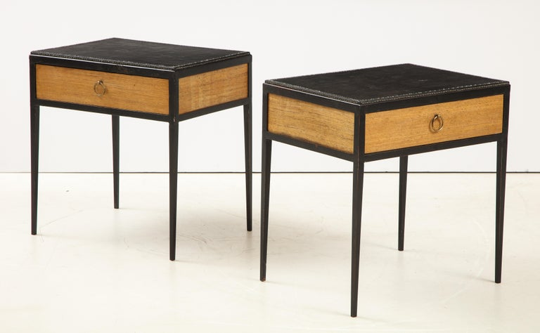 Pair of Oak and Leather Side Tables in the Manner of Jean Michel Frank 3