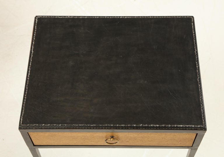 Pair of Oak and Leather Side Tables in the Manner of Jean Michel Frank 4