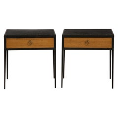 Pair of Oak and Leather Side Tables in the Manner of Jean Michel Frank