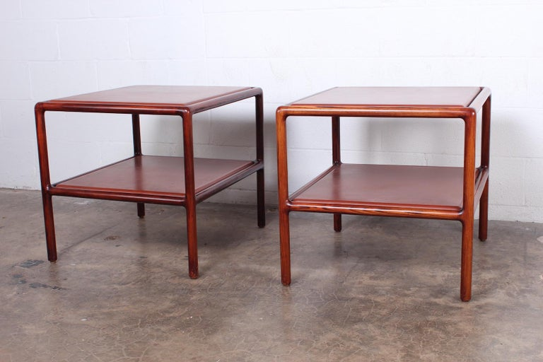 Pair of Oak and Leather Tables by Ward Bennett In Good Condition For Sale In Dallas, TX