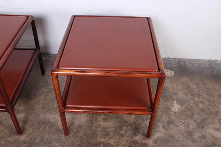 Pair of Oak and Leather Tables by Ward Bennett For Sale 2