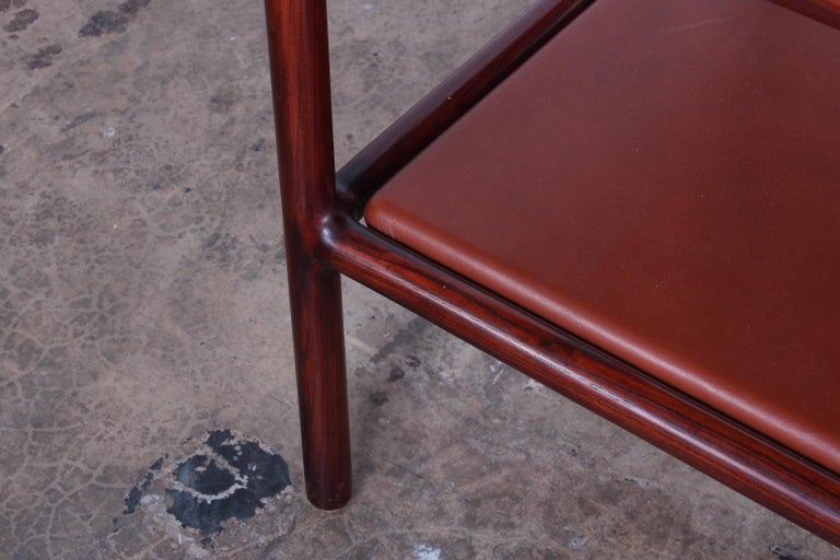 Pair of Oak and Leather Tables by Ward Bennett For Sale 3