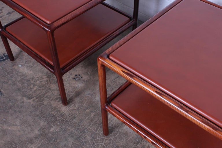 Pair of Oak and Leather Tables by Ward Bennett For Sale 4