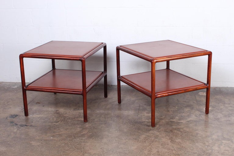 Pair of Oak and Leather Tables by Ward Bennett For Sale 5