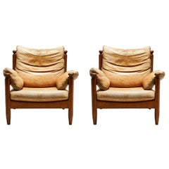 Pair of Oak and Leather Vintage Chairs