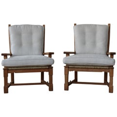 Pair of Oak and Seagrass Chairs, France, 1950s