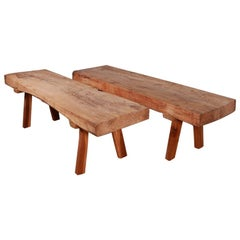 Pair of Oak and Walnut Coffee Tables