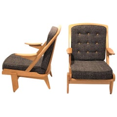 Pair of Oak Armchairs by Guillerme et Chambron