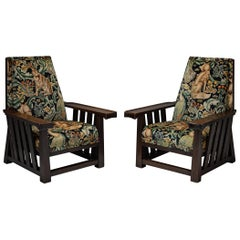 Pair of Oak Armchairs by Leonard Wyburd in Cotton Velvet from William Morris