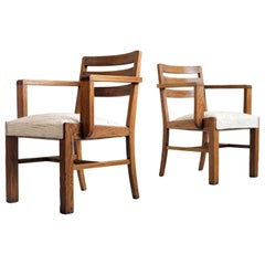 Pair of Oak Armchairs, French Reconstruction, 1945