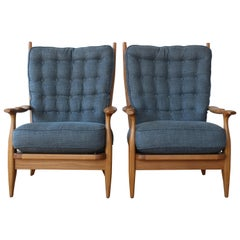 Pair of Oak Armchairs in the Style of Guillerme et Chambron