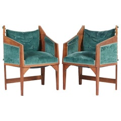 Pair of Oak Art Deco Amsterdam School Club Chairs by H. van Dorp, 1920s