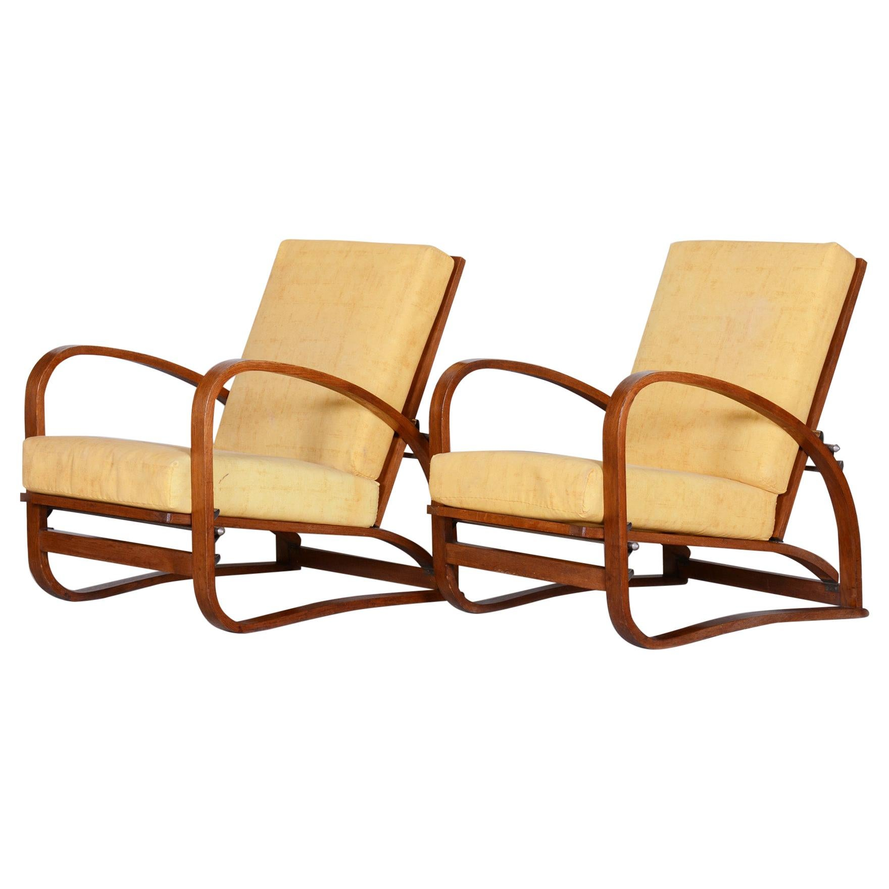 Pair of Oak Art Deco Armchairs by Jindrich Halabala, 1930s, Original Condition