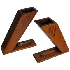 PAIR of Oak Arts and Crafts Period Vases or Bookends Angular Inlaid, Circa 1890