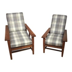 Pair of Oak Arts & Crafts Period Gentlemen's and Ladies Armchairs