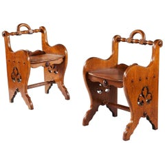 Pair of Oak Arts & Crafts Stools