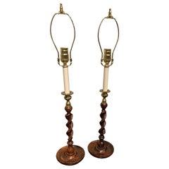 Pair of Oak Barley Turned Candlestick Lamps