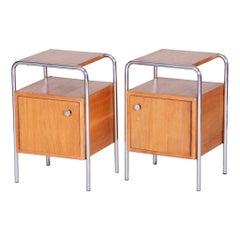 Pair of Oak Bauhaus Bed-Side Tables, Maker Robert Slezak, Czechoslovakia, 1930s