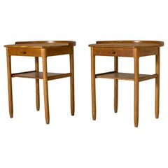 Pair of Oak Bedside Tables by Sven Engström and Gunnar Myrstrand