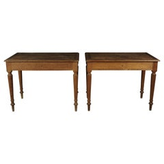 Pair of Oak Bistro Tables from France, circa 1950
