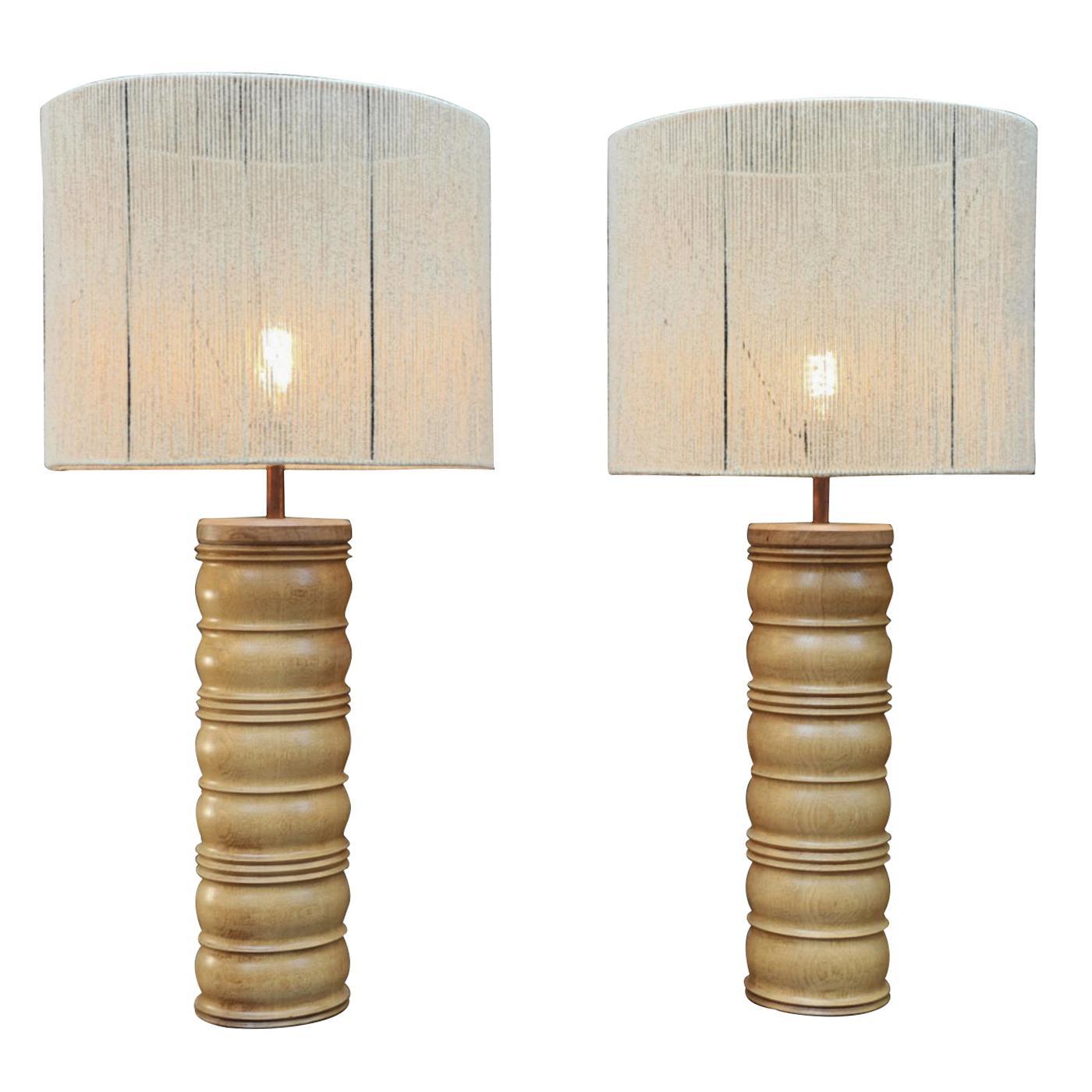 Pair of Oak Charles Dudouyt Mid-Century Lamps, circa 1940