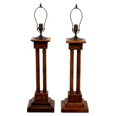 Pair of Oak Column Lamps