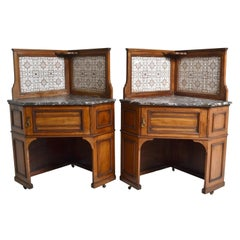 Pair of Oak Corner Washstands with Minton's Tiles by Maple of London, circa 1875