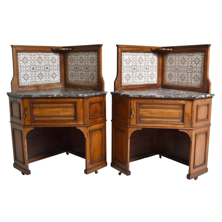 Pair of Oak Corner Washstands with Minton's Tiles by Maple of London, circa 1875 For Sale
