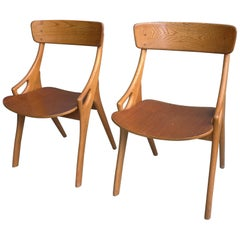 Pair of Oak Danish Dining or Side Chairs by Arne Hovmand-Olsen, Denmark, 1958