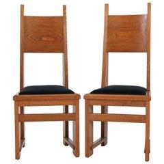 Pair of Oak Dutch Art Deco Haagse School High Back Chairs by Henk Wouda, 1920s