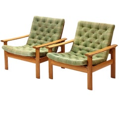 Pair of Oak-Framed Swedish Lounge Chairs