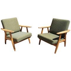 Pair of Oak GE-240 Lounge Chair by Hans Wegner for GETAMA