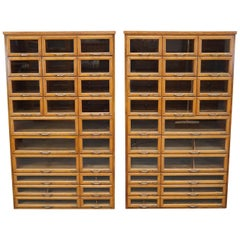 Pair of Oak Haberdashery Shop Cabinets, 1930s