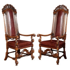 Pair of Oak High Back Armchairs