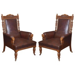 Pair of Oak Leather Upholstered Library Armchairs