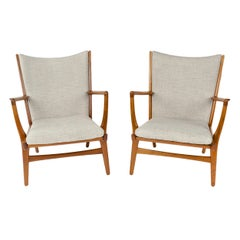 Pair of Oak Lounge Chairs by Hans Wegner 'Set of 2'