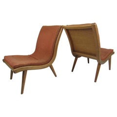 Pair of Oak Mid-Century Modern Bentwood Scoop Chairs