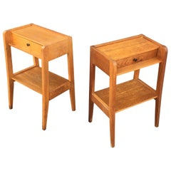 Pair of Oak Nightstands, circa 1950